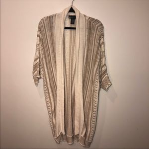 Lane Bryant Striped Crochet Open Front Cardigan